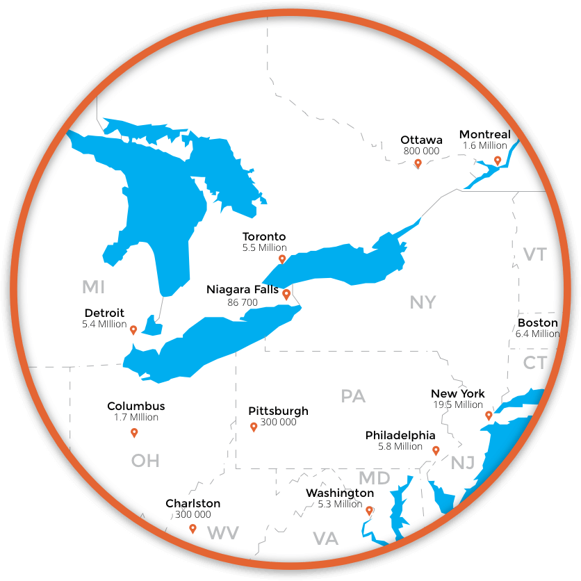 Niagara Falls location in North America