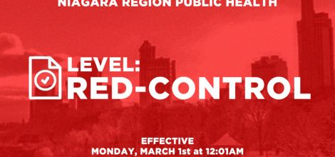Niagara Moves to Red-Control Zone on Monday, March 1st