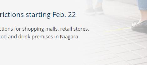 Niagara Moves into Red Control Zone Monday – Niagara Regional Health - Section 22 Applies